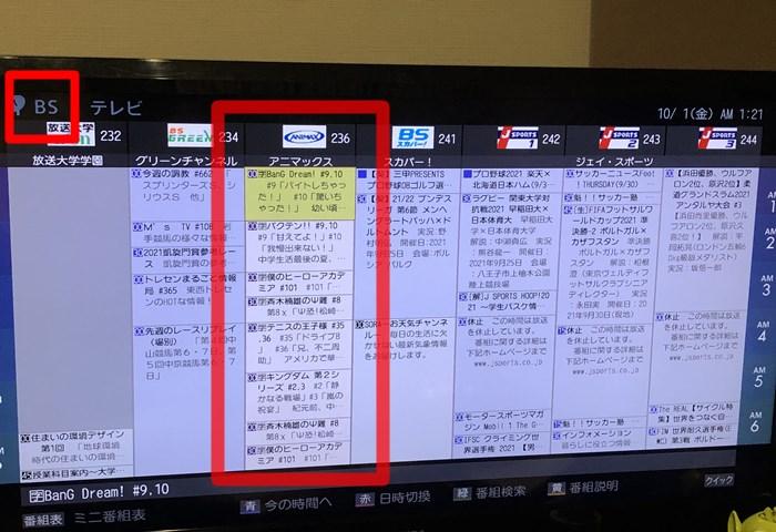 BSアニマックスのデジタル番組表(テレビ)